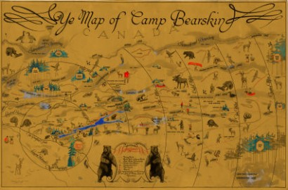 Historic 1935 map of Camp Bearskin and the surrounding area